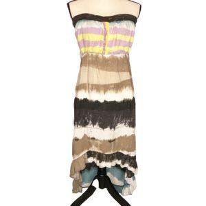 Angie Hippie Boho Style Strapless High Low Dress M